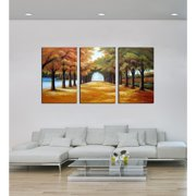 The Lighting Store 'Golden Road' 3-piece Gallery-wrapped Hand Painted Canvas Art Set