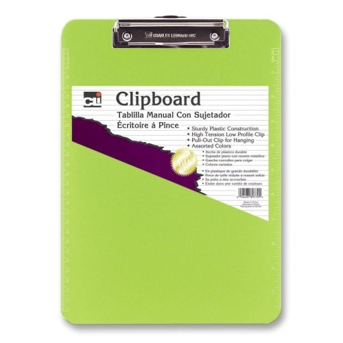 Low Profile Neon Plastic Clipboard-Green