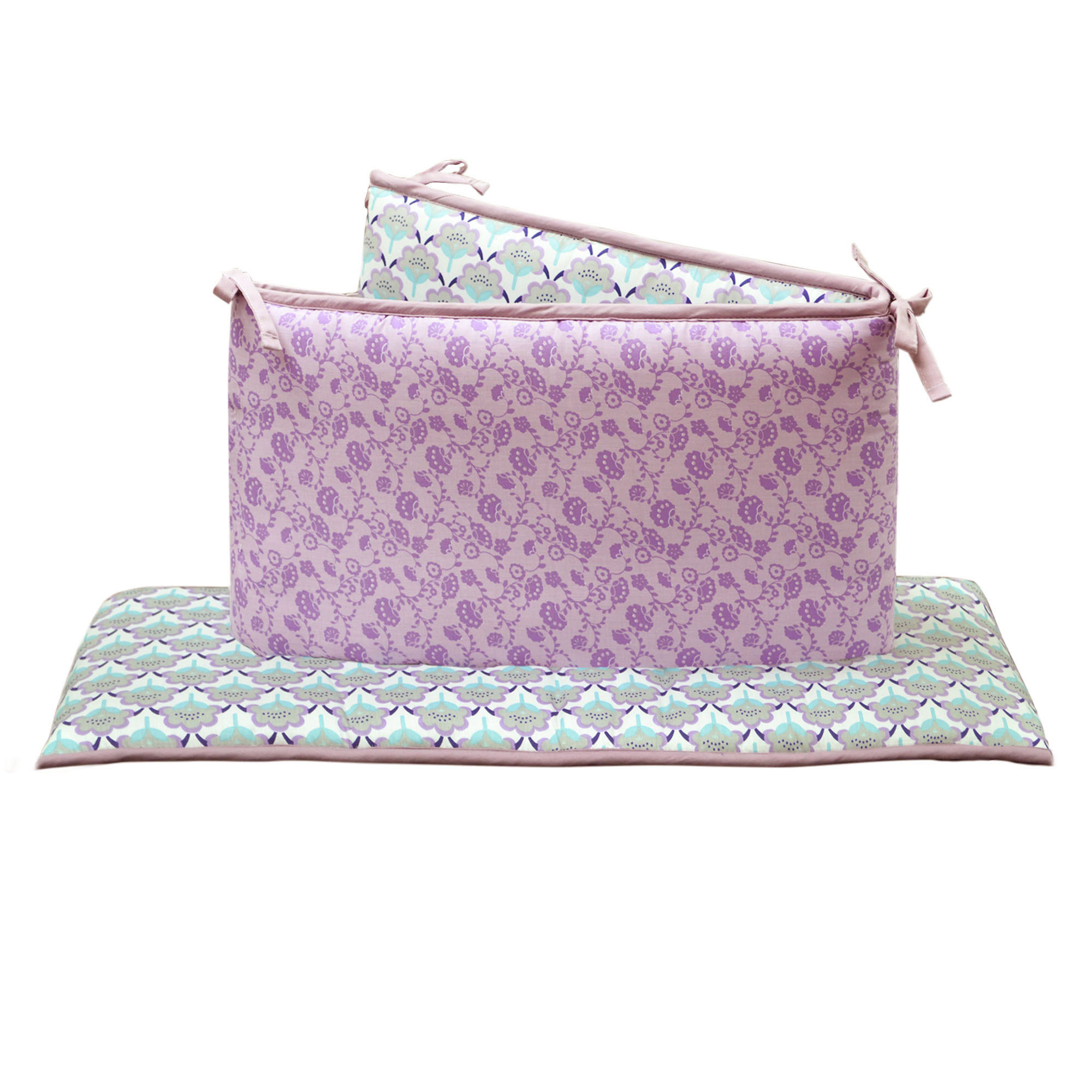 The Peanut Shell Baby Girl Crib Bumper - Purple Floral - Zoe Collection