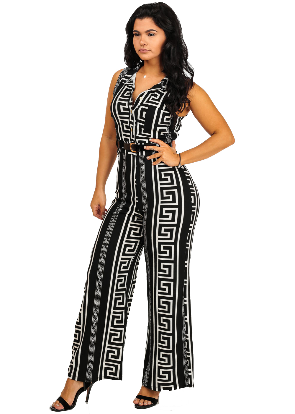 273a9097dc5 ModaXpressOnline - Womens Juniors Black Printed Sleeveless Wide-Leg ...