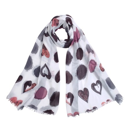 Elegant Hearts Print Frayed End Scarf Wrap