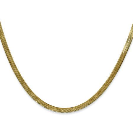 """14K Gold 3mm Silky Herringbone Chain 16"""""""