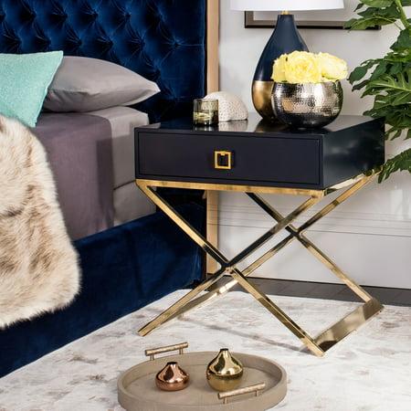 Safavieh Zarina 1-Drawer Modern Glam Cross Leg End Table ()