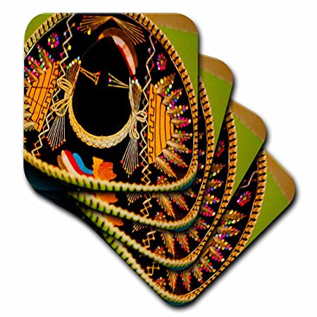 3Drose A Large Mexican Hat Hanging On A Wall At A Restaurant In With Bright  Vibrant Yellow And Black  Soft Coasters  Set Of 4