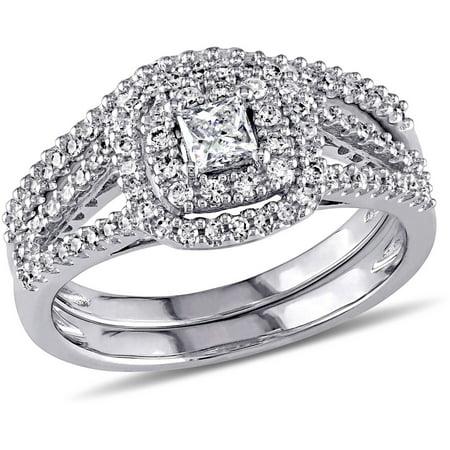 Miabella 3/5 Carat T.W. Certified Princess and Round-Cut Diamond 14kt White Gold Double Halo Bridal Set