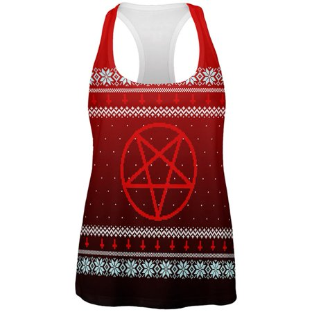 Ugly Christmas Sweater Red Black Pentagram Ombre All Over Womens Work Out Tank Top