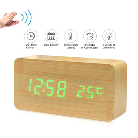 Electronic LED Digital Wooden Alarm Clock Time/ Temperature/ Date Display Desktop Clock 3 Levels Brightness Voice Control USB Charge or Battery Supply -- Natural Wood ()