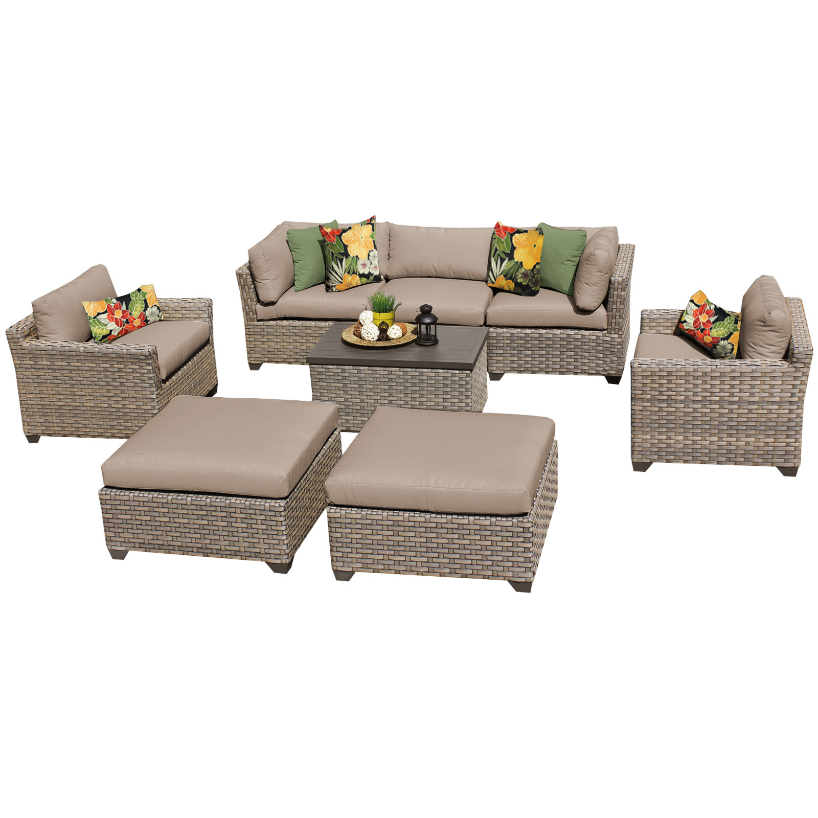 Hampton 8 Piece Outdoor Wicker Patio Furniture Set 08a by TK Classics