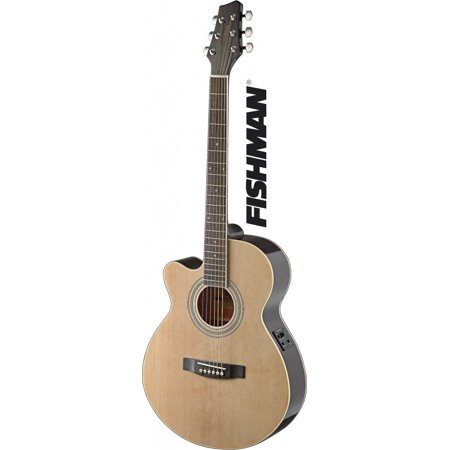 Stagg SA40MJCFI-LH N Mini Jumbo Cutaway Acoustic-Electric Concert Guitar, Left Handed - Natural