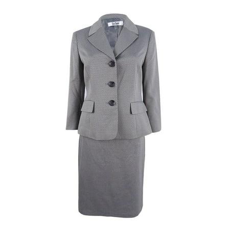 Le Suit Women's Three-Button Skirt Suit (4, (Slit Skirt)