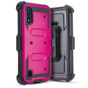 for Samsung Galaxy A01 015 Case Phone Case Dual Layer Full-Body Rugged Clear Back Case Drop Resistant Shockproof Case with Built In Screen Protector (Pink)