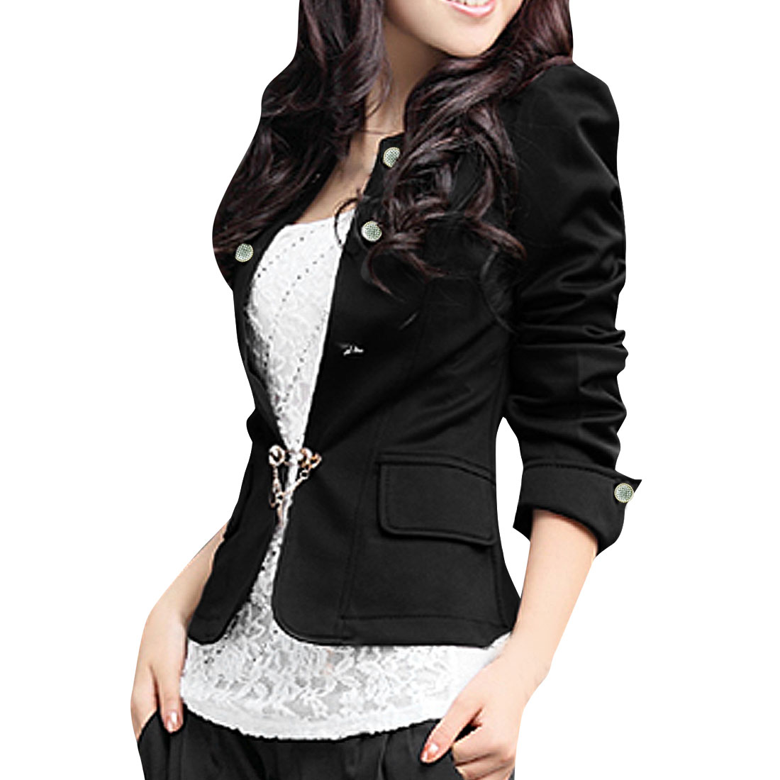 Allegra K Women's Long Sleeve Button Decor Ruffled Peplum Blazer Jacket Black (Size M / 8)