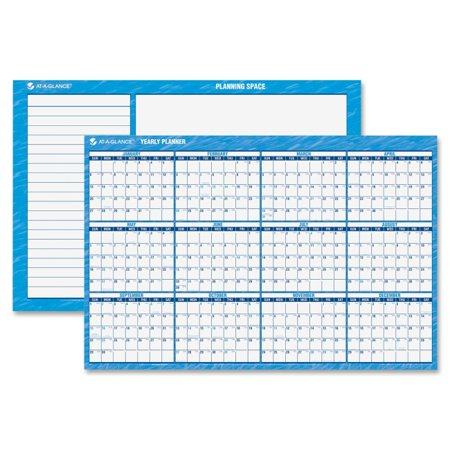 (AT-A-GLANCE Horizontal Erasable Wall Planner, 48 x 32, Blue/White, 2017)