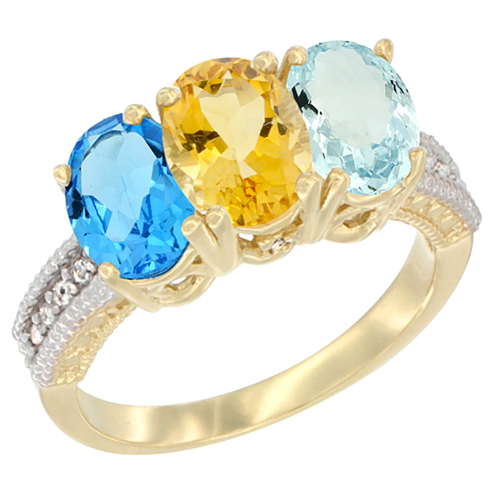 10K Yellow Gold Diamond Natural Swiss Blue Topaz, Citrine & Aquamarine Ring 3-Stone Oval 7x5 mm, sizes 5 10 by WorldJewels
