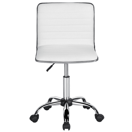 Marvelous Pu Leather Low Back Armless Desk Chair Ribbed Armless Swivel Task Chair Office Chair With Wheels White Uwap Interior Chair Design Uwaporg
