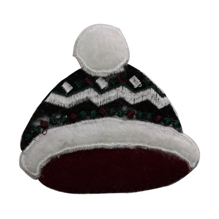 ID 8420 Fuzzy Winter Hat Patch Christmas Cap Fashion Embroidered IronOn Applique