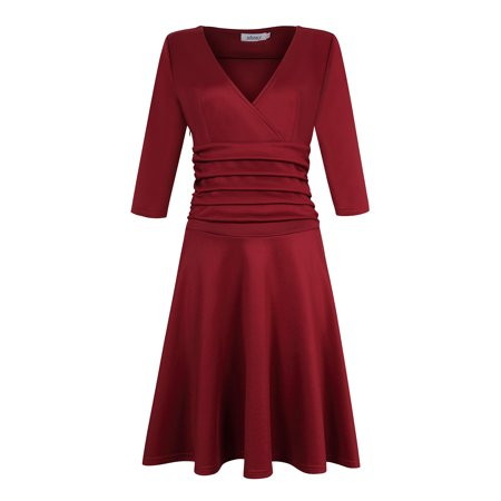 MISSKY Women Sexy V-neck Empire Tunic Ruched Waist 3/4 Sleeve Slim Dress Wine M ()