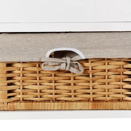 Costway Wood Storage Bench Organizer Shelf w/ 2 Drawer 2 Baskets - image 3 of 10