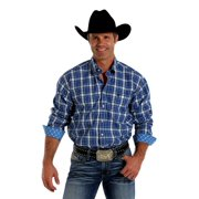 Cinch Western Shirt Mens Long Sleeve Weave Plaid White MTW1104206