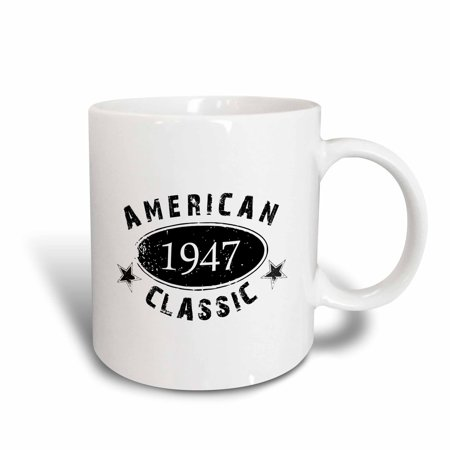 Richelieu Classic Ceramic (3dRose 1947 American Classic - Personalized Birth Year Birthday gift - black grunge vintage look - funny - Ceramic Mug, 15-ounce )