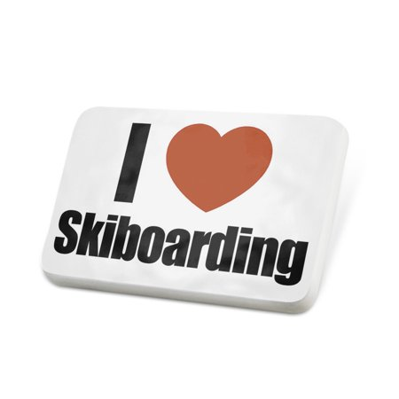 Porcelein Pin I Love Skiboarding Lapel Badge – NEONBLOND