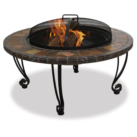 Slate and Marble Wood Burning Outdoor Firebowl with Copper Accents ()