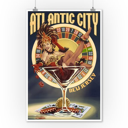 Atlantic City, New Jersey - Pinup Showgirl - Lantern Press Artwork (9x12 Art Print, Wall Decor Travel (Atlantic City With Kids)