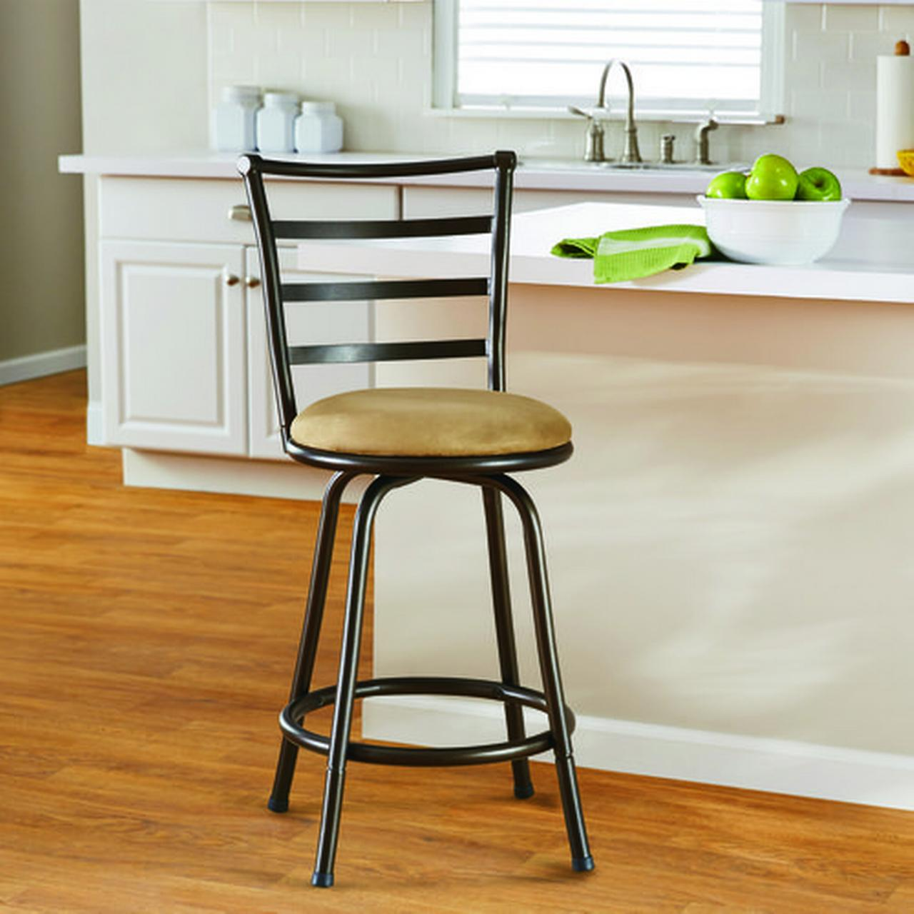 Mainstays 24  Ladder Back Swivel Barstool with Tan Microfiber Seat Cushion : swivel stools - islam-shia.org