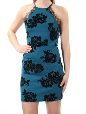 31cf38cde Product Image TRIXXI Womens Teal Lace Velour Velvet Floral Sleeveless  Halter Mini Body Con Cocktail Dress Juniors Size