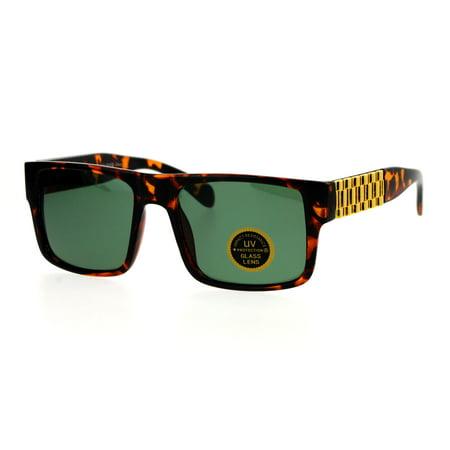 - SA106 Mens Glass Lens Metal Chain Arm Flat Top Rectangular Sunglasses Tortoise Green