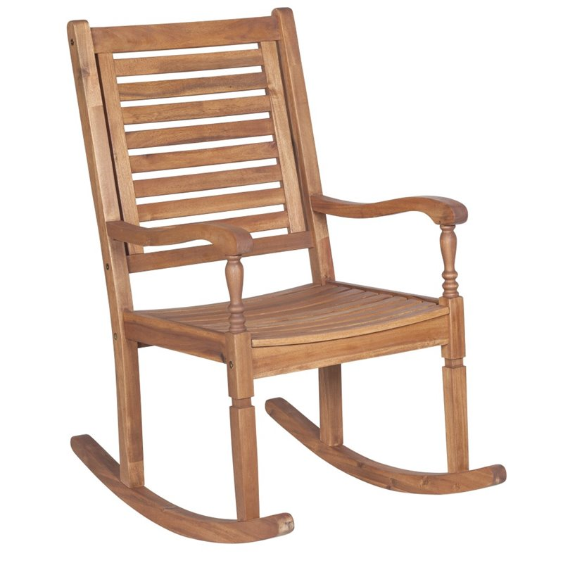 Pemberly Row Patio Rocking Chair in Brown