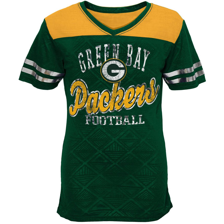 NFL Girls Packers Short Sleeve Vneck Team Top
