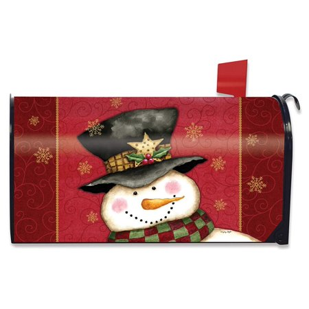 Holly Jolly Snowman Christmas Magnetic Mailbox Cover Holiday Standard ()