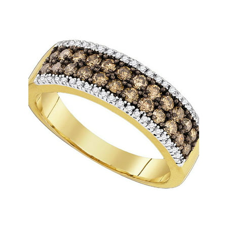 14kt Yellow Gold Womens Round Cognac-brown Color Enhanced Diamond 2-row Band Ring 3/4 Cttw - image 1 de 1