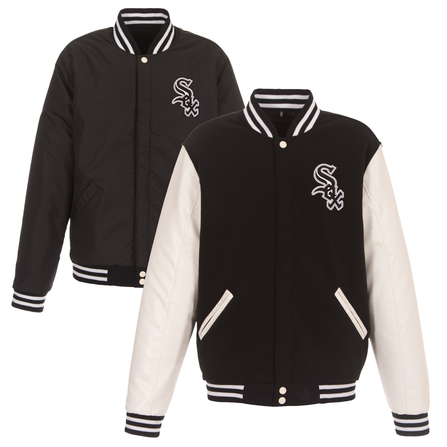 Chicago White Sox JH Design Reversible Fleece Jacket with Faux Leather Sleeves - Black