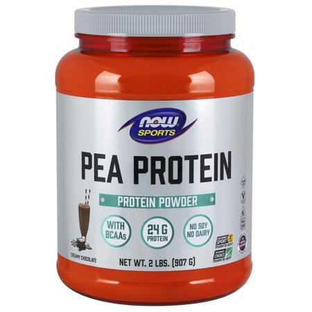 NOW Sports Pea Protein Powder, Creamy Chocolate, 24g Protein, 2.0lb, (Difference Between Pea Protein And Whey Protein)