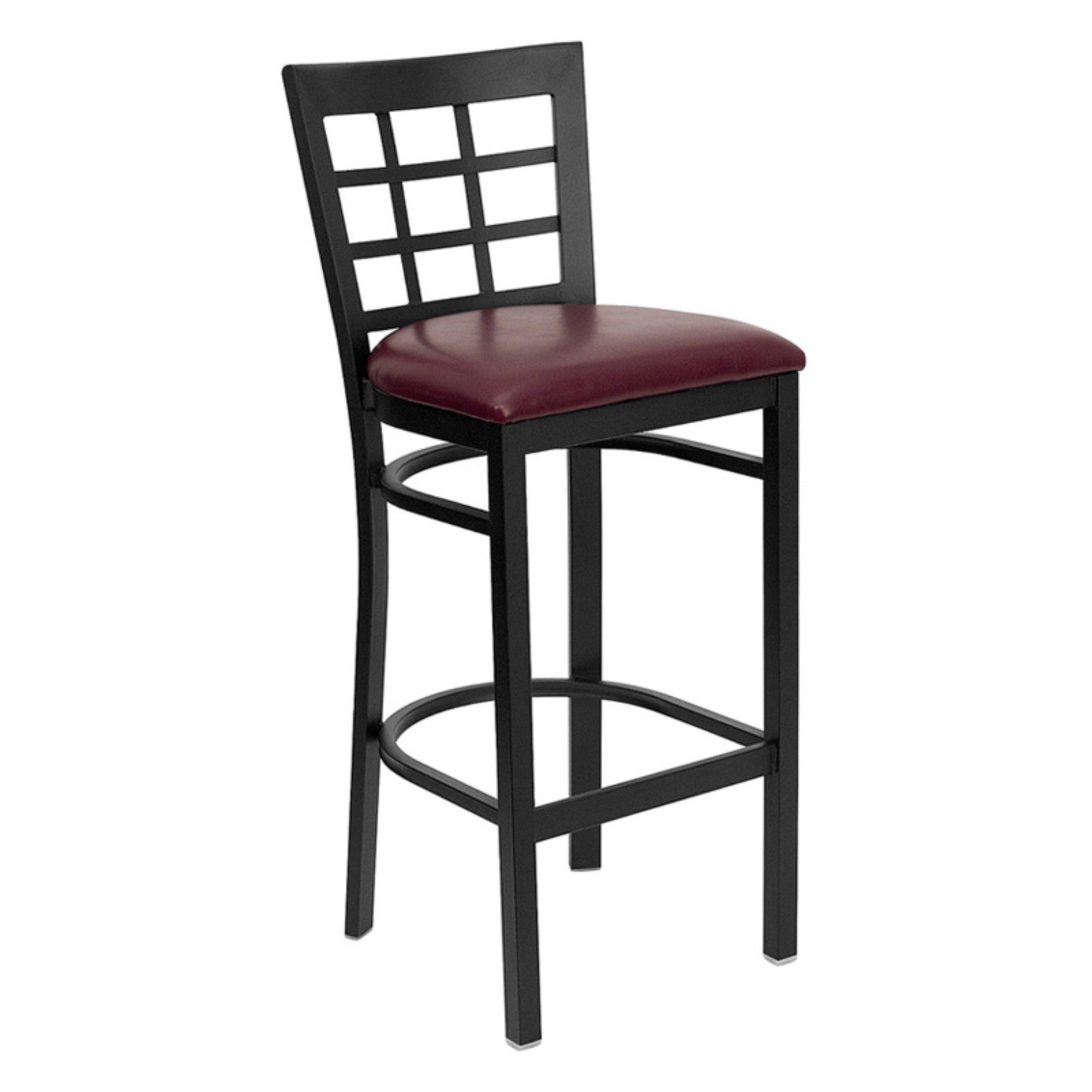 "Metal Window Back Bar Stool 31"", Burgundy"