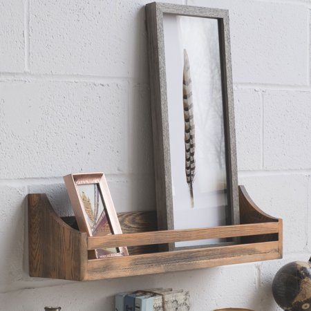 Rustic Wood Wall Shelf 24 Inch Weathered Handmade Reclaimed Style Wooden Multi Purpose Rack
