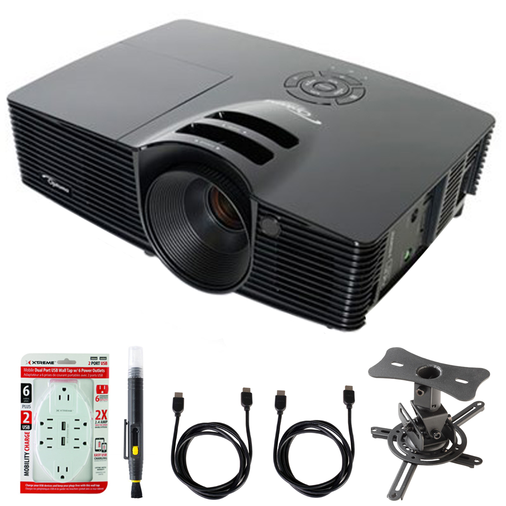 Optoma Full 3D SVGA 3500 Lumen DLP Projector with Superior Lamp Life and HDMI (S341) with Projector Mount, LCD/Lens Cleaning Pen, 6 Outlet Wall Tap w/ 2 USB Ports White & 2x HDMI to HDMI Cable 6' is a great u bar projector headlights, projector mode