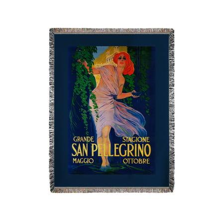 Chenille Vintage Blanket (San Pellegrino - Vintage Advertisement (60x80 Woven Chenille Yarn)