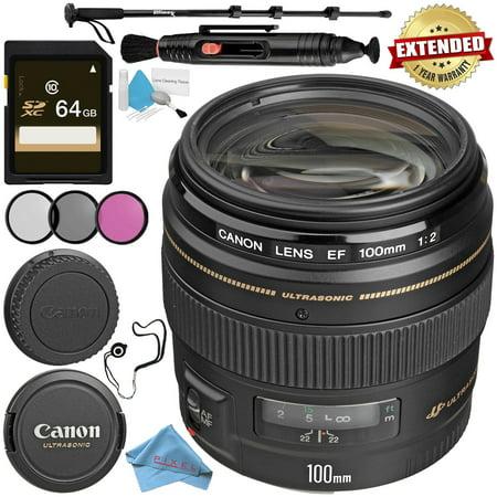 Canon EF 100mm f/2 USM Lens + 58mm 3 Piece Filter Kit + 64GB SDXC Card + Lens Pen Cleaner + Fibercloth + Lens Capkeeper + Deluxe 70