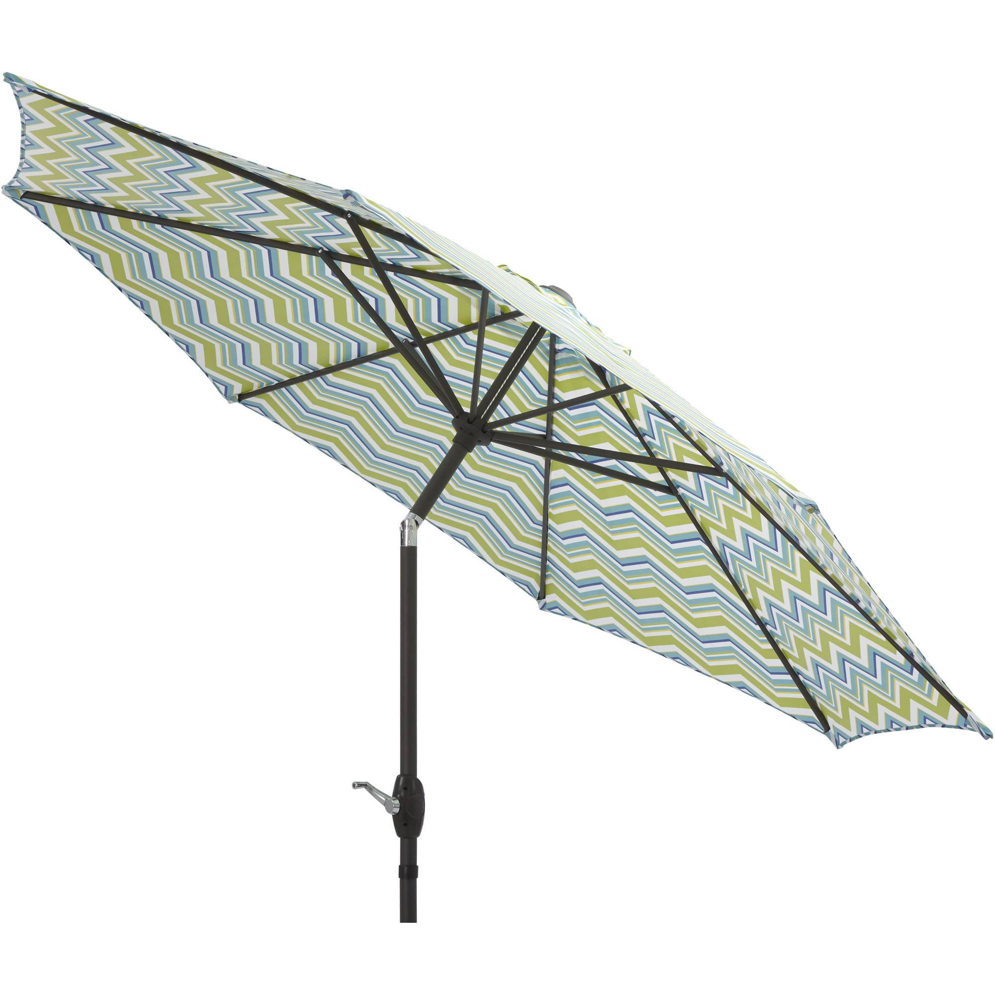 Mainstays 9' Market Umbrella, Miranda Chevron with Brown Frame by