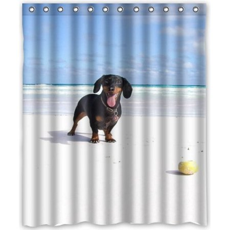 GreenDecor Cute Dachshund Dog Baby Waterproof Shower Curtain Set With Hooks Bathroom Accessories Size 60x72 Inches