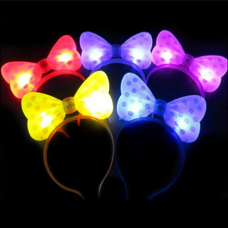 8 Multi Colors LED Lighting Headband Ox Horn Bow Shape Glow Ears party birthday