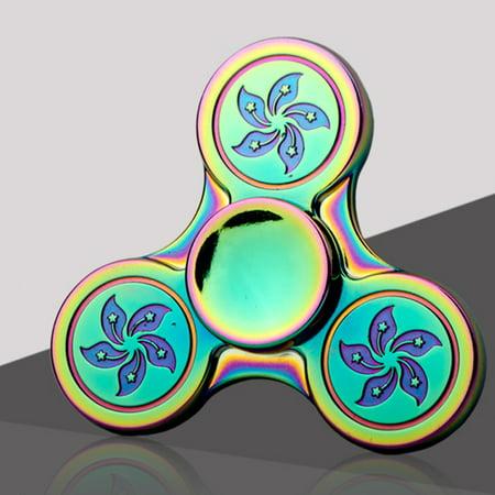 Bluelans Fidget Finger Spinner Hand Focus Spin Alloy Edc Rainbow Bauhinia Stress Desk Toy
