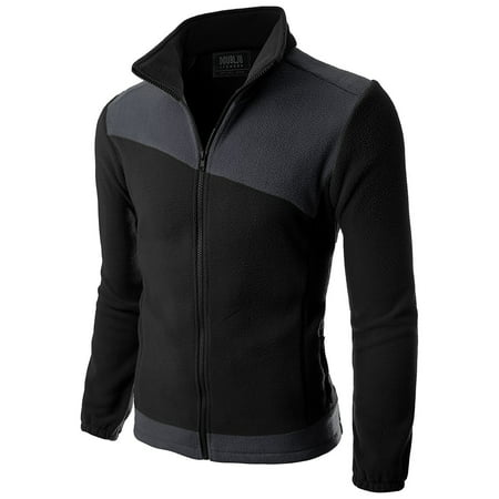 Doublju Men's Long Sleeve Colorblocked Fleece Zip-Up Jacket Cotton Blend Fleece Jacket