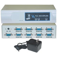 VGA Video Splitter, 1 PC to 8 Monitors, 400MHZ VGA Video Splitter, 1 PC to 8 Monitors, 400MHZ