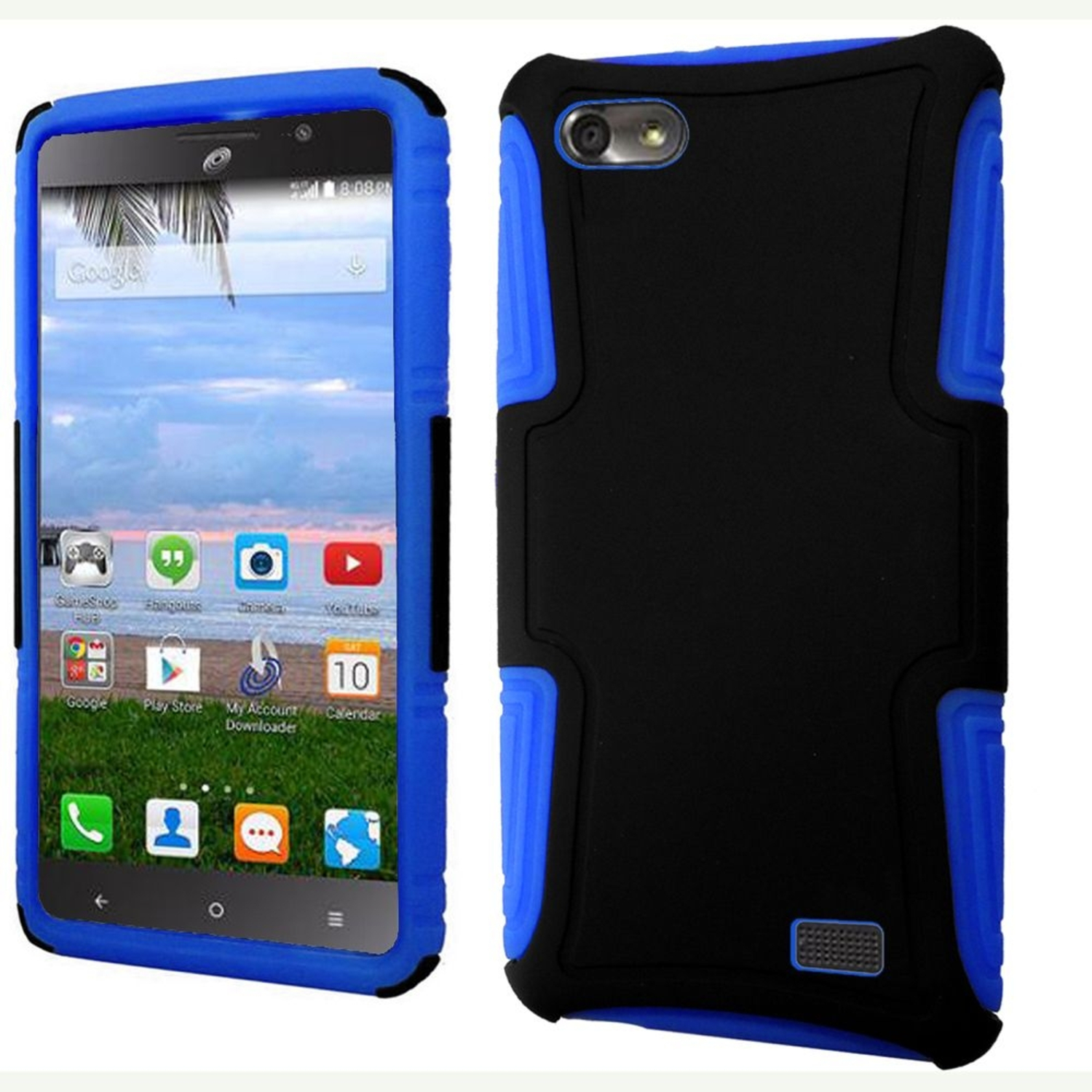 huawei raven. insten hard hybrid plastic silicone case for huawei raven lte - black/blue