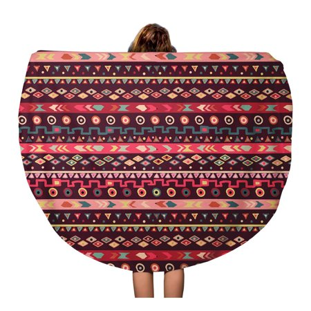 JSDART 60 inch Round Beach Towel Blanket Tribal Boho Stripes Striped Vintage STYL Ethnic for Holiday Travel Circle Circular Towels Mat Tapestry Beach Throw - image 1 de 2