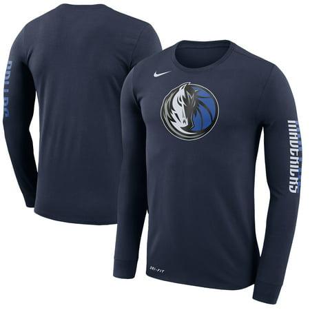 Dallas Mavericks Nike Logo Long Sleeve T-Shirt - Navy (Nike Long Sleeve T Shirt Men)